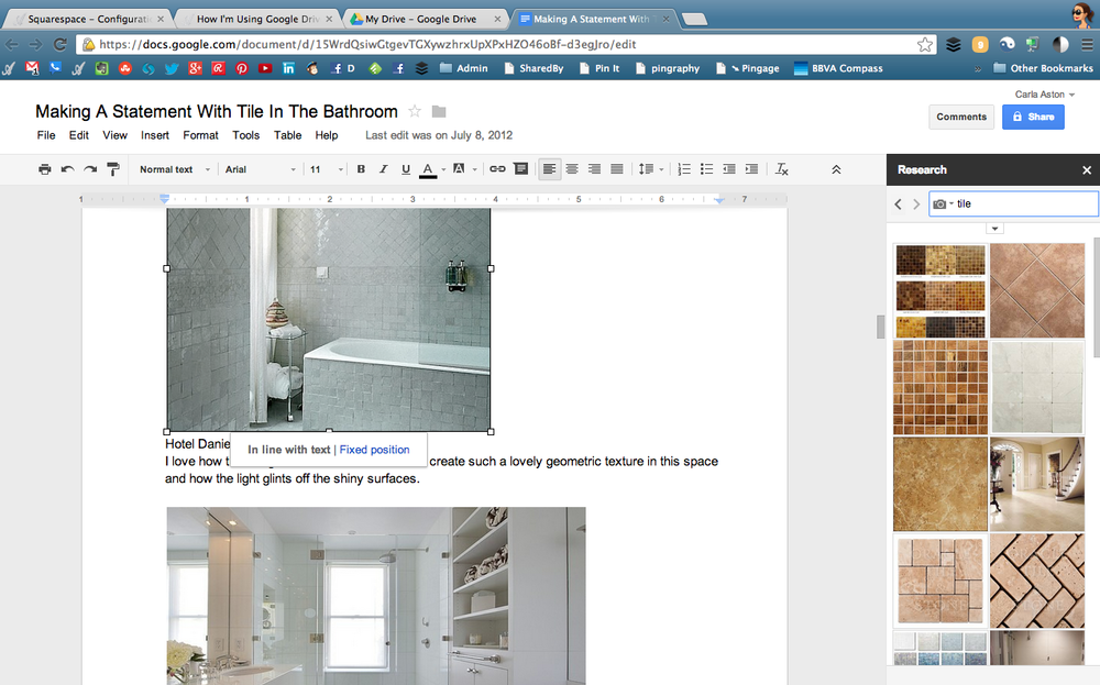 Click to enlarge - Here I am working on a post about making a statement with tile.