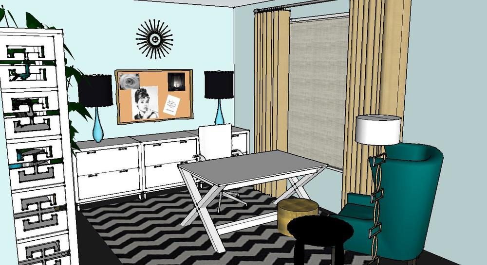 Design Plan A Trendy Glam Home Office DESIGNED