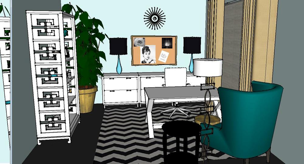Design plan a trendy glam home office designed for Well designed office spaces