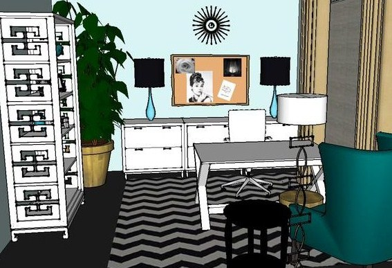 Check out my FREE  Design Plan Give Away!  A Trendy Glam Home Office Plan, with links and sources to do yourself!