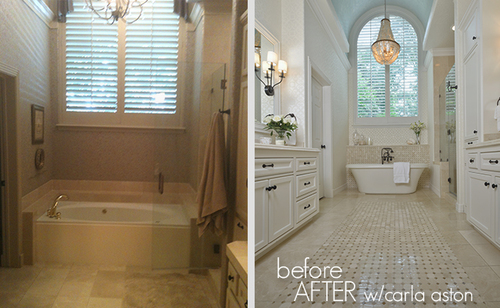 After  images photographed by Miro Dvorscak   Before   After   A Remodeled Bathroom DESIGNED by Carla Aston  . Remodeled Bathrooms Before And After. Home Design Ideas