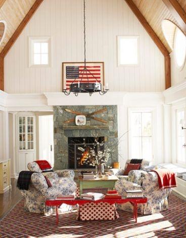 Image via:  House Beautiful , Designer: Chipper Joseph |#4thofJuly #Americanflag