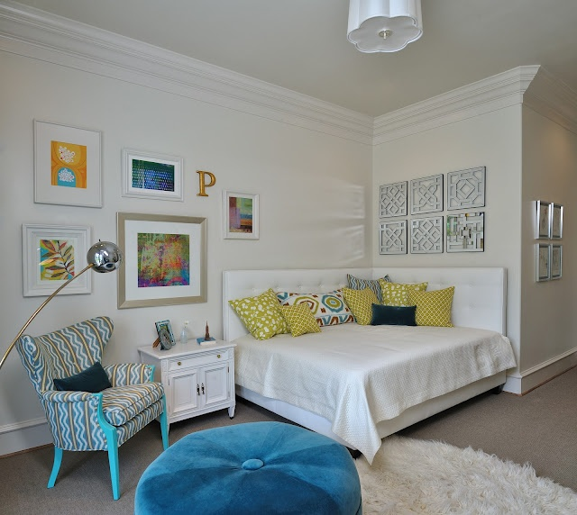 "In my last showhouse room, I put a ""P"" on the wall of my imaginary teen's bedroom. Her name was ""Phoebe"". See every aspect of @ Phoebe's She-Cave"
