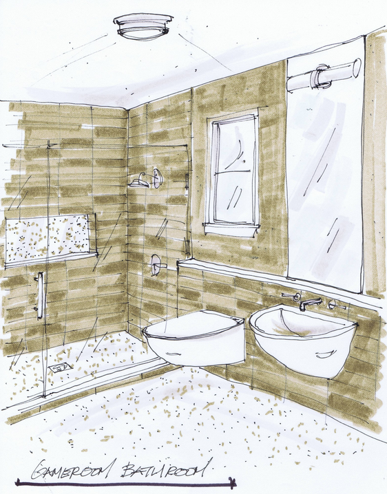 Design plan a sweet little bathroom with a vintage modern for Bathroom interior design drawing