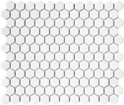 We're using some of these little hexagons with a dark chocolate grout.