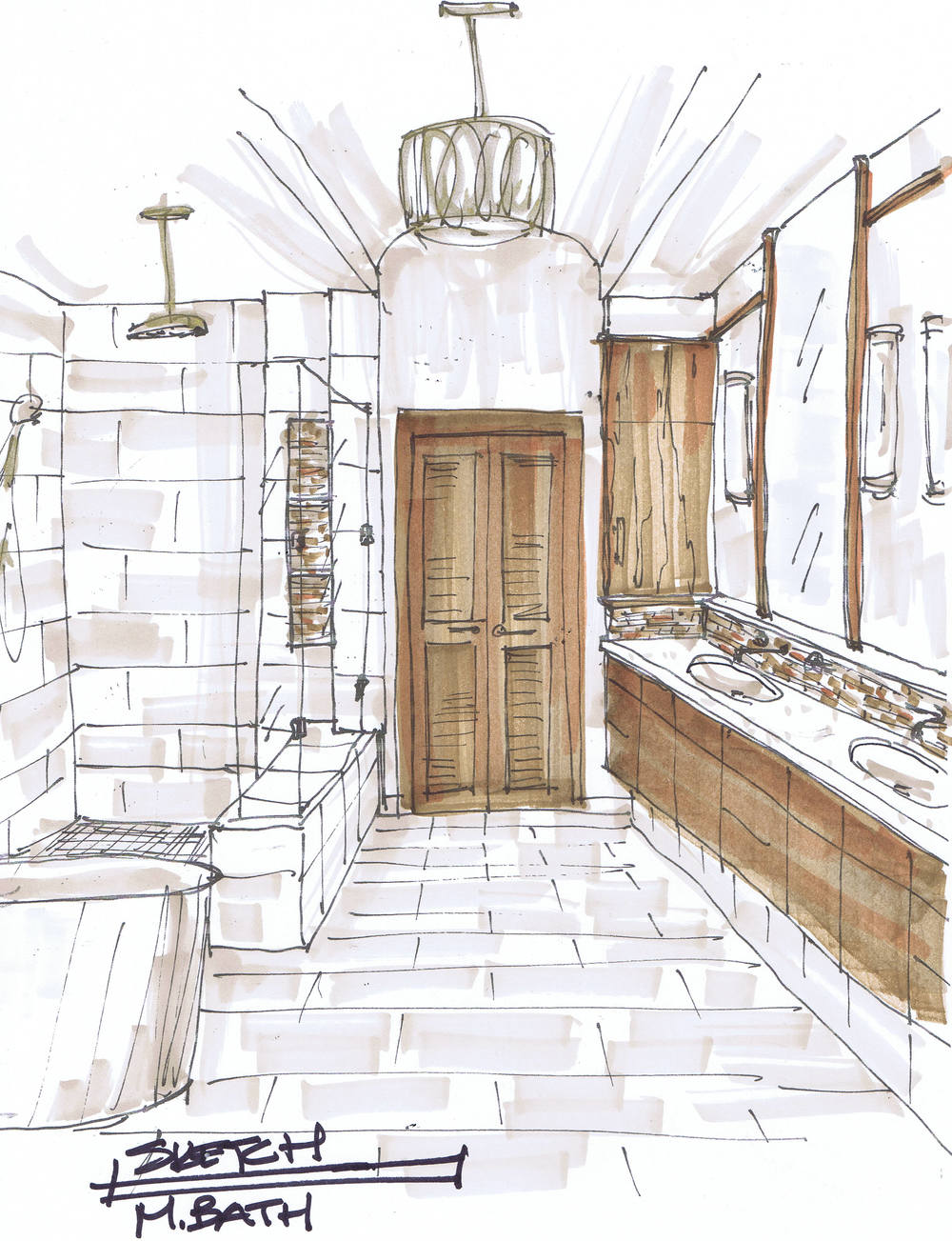 Inside House Drawing: Before & After: A Traditional, Builder-Grade Bathroom Is