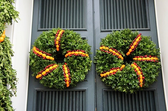 It doesn't matter which holiday is approaching. Thanksgiving, Christmas, you name it.... as long as you have a black door, a wreath is going to look great on it.