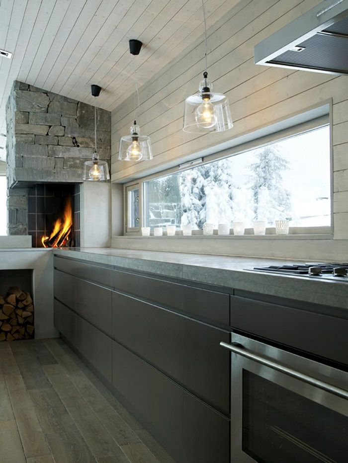 Fireplaces in the kitchen | Architect: Arne Thorsrud |Image via:  Planete Deco
