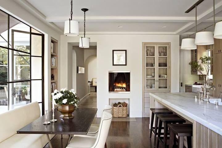 Fireplaces in the kitchen | Image via:  Building Construction Group,  Designer:  Studio William Hefner