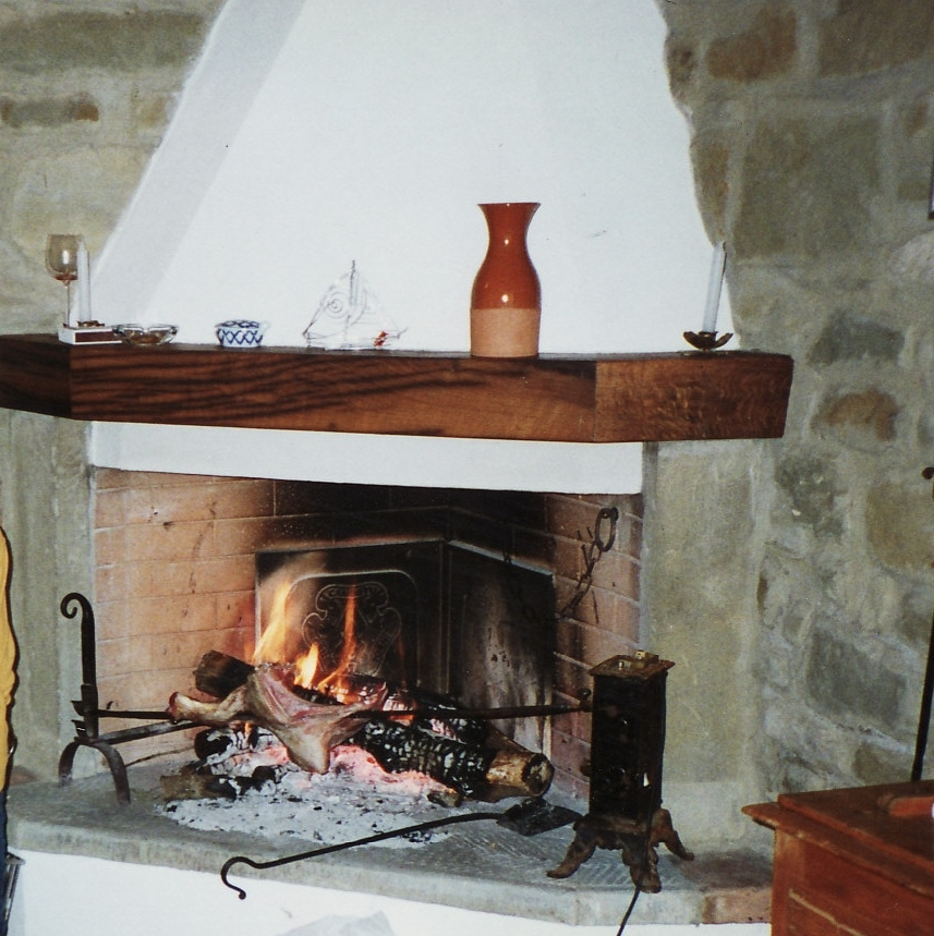 Fireplace in the kitchen w/ lamb on spit