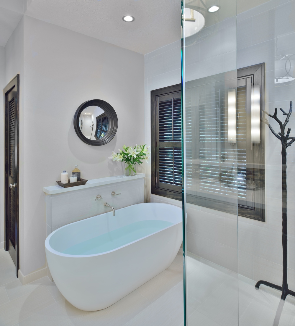 A Builder Grade Bathroom Is Made Modern, Designer: Carla Aston