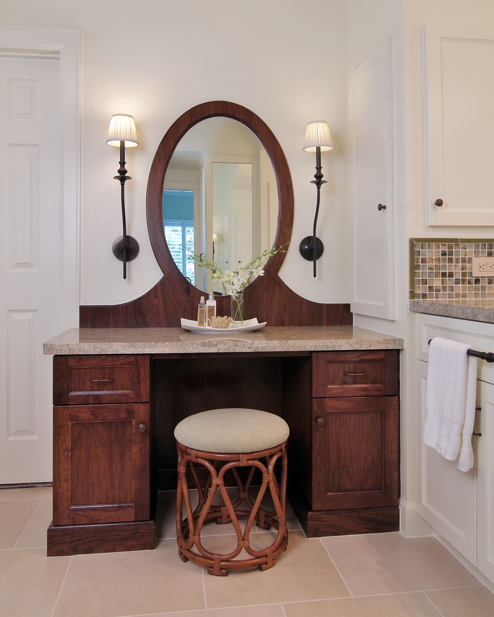 Bathroom remodel with vanity, Designer: Carla Aston