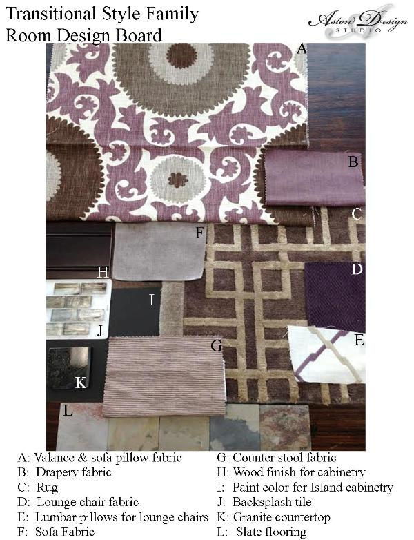 Traditional style family room design board by interior designer Carla Aston.