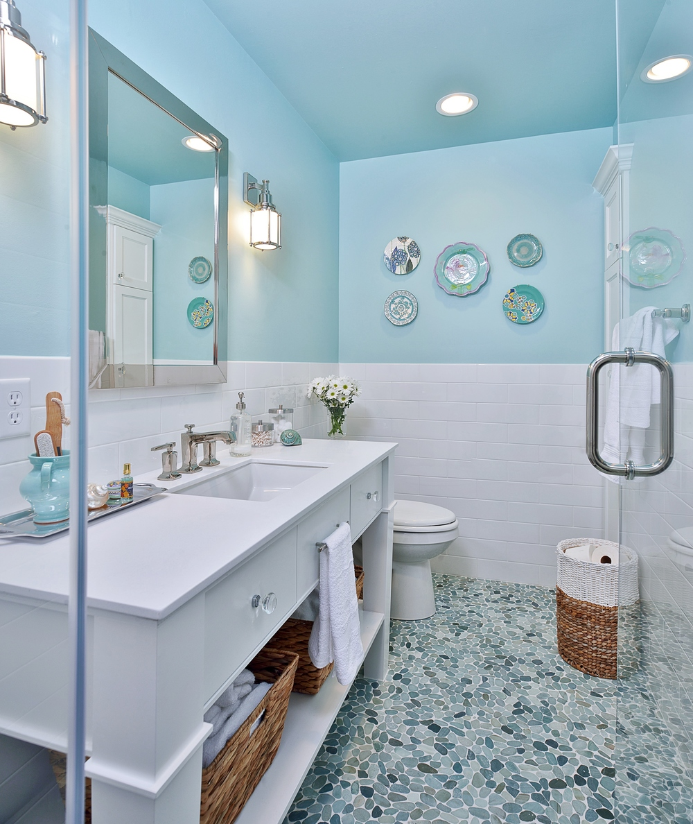 Tiffany blue bathroom remodel with pebble tile floor, Designer: Carla Aston