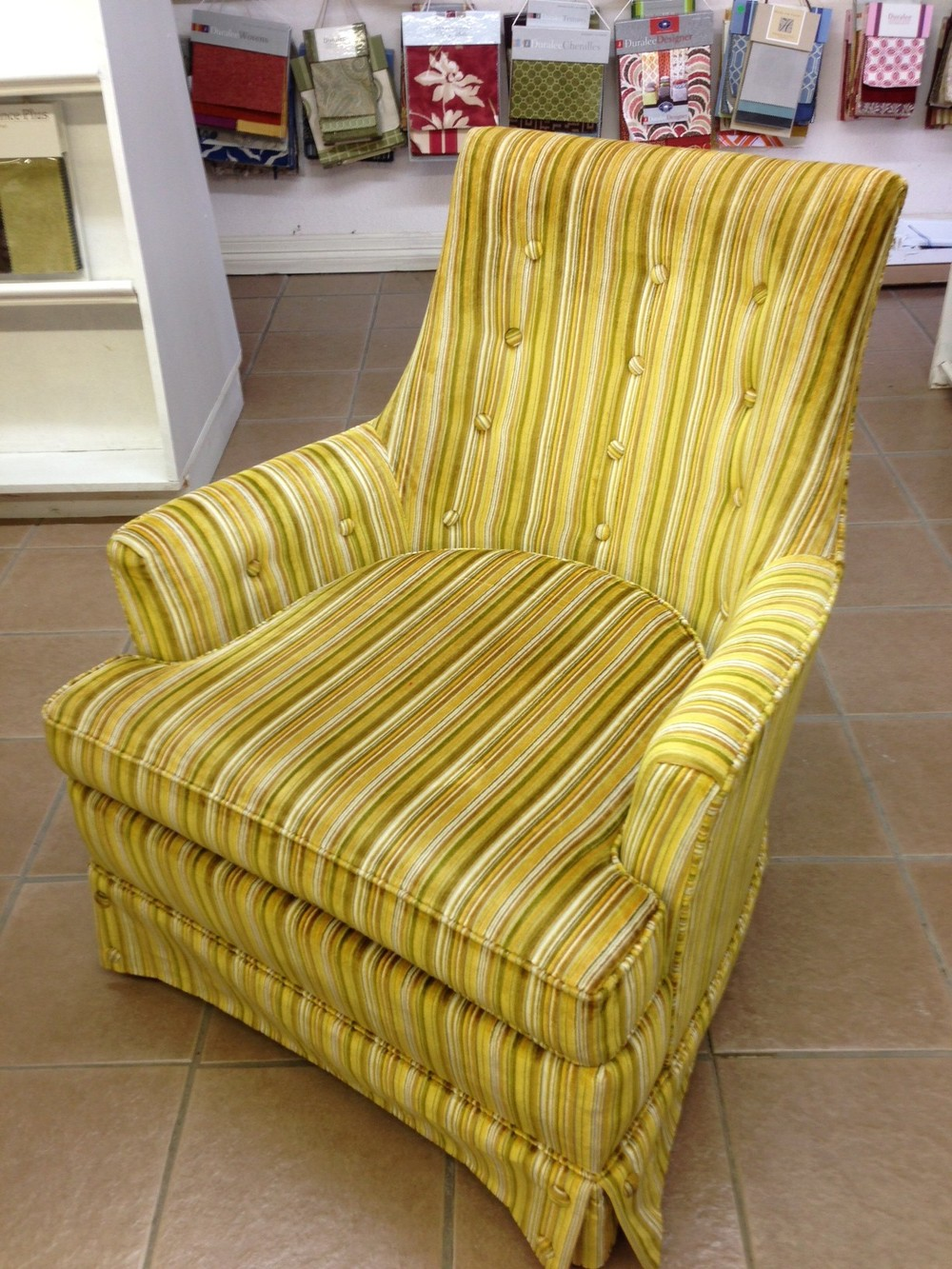 Beau Momu0027s 70s Gold Chair Is Staying Alive W/a Reupholstered Modern Look U2014  DESIGNED