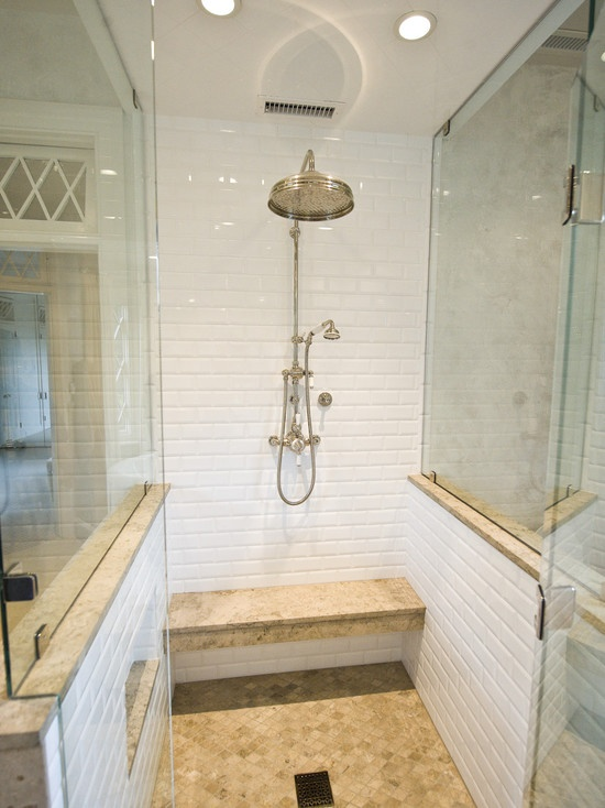 If you remodeled your suburban home 10 or even 5 years ago, and you live in a hot climate like we do here in The Woodlands, it's quite probable that you have travertine floors and are eager to update them. | Shower enclosure system by: Camlica