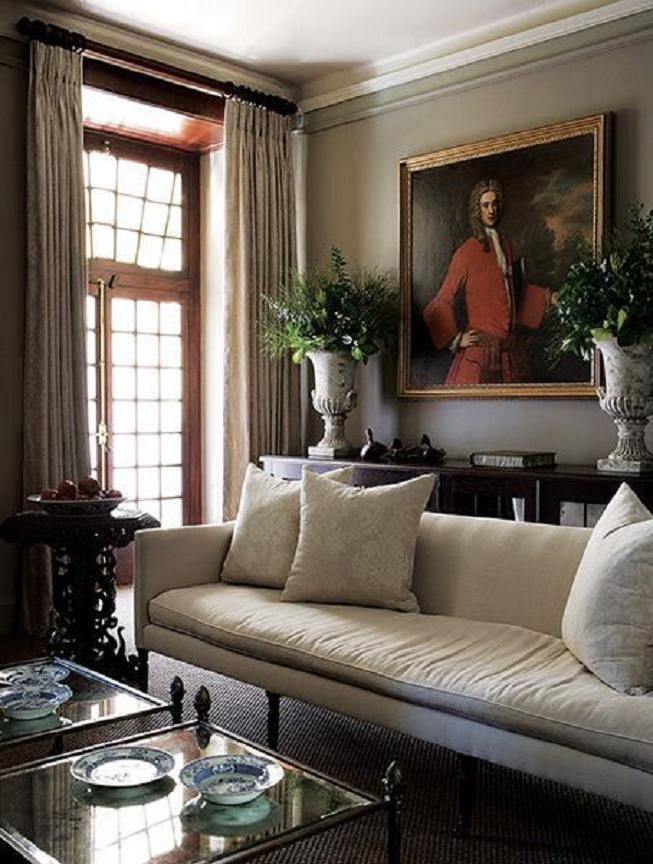 Old painted portraits will add depth and character to any room in your house. They add a sense of history and nostalgia. They add a richness and an extra layer to a room, no matter what the size. | Interior designer: John Jacob