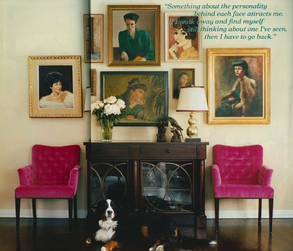 Old painted portraits will add depth and character to any room in your house. They add a sense of history and nostalgia. They add a richness and an extra layer to a room, no matter what the size. | Interior designer: Mindy Weiss