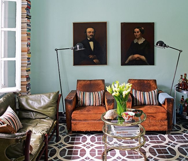 Old painted portraits will add depth and character to any room in your house. They add a sense of history and nostalgia. They add a richness and an extra layer to a room, no matter what the size. | Interior Designer: samuel and caitlin dowe-sandes
