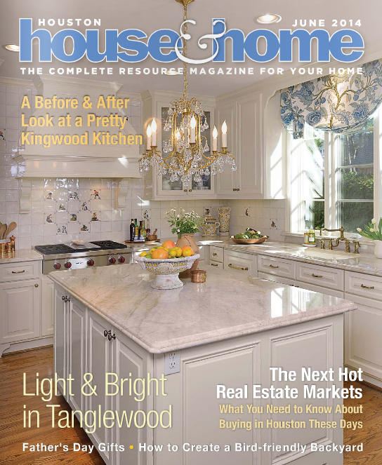 "Houston House & Home , ""A Before & After Look at a Pretty Woodlands Kitchen"", June 2014"