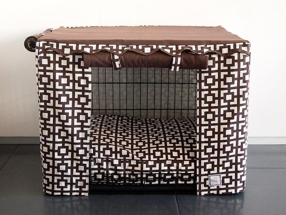 "Best Interior Design Links of the Week ➤ STYLISH SOLUTIONS FOR UNSIGHTLY PET CRATES | ""Transform your metal crate into a luxury dog ""Haus."" These stylish crate covers have two contrasting panels which can be rolled open with Velcro loops for easy access or rolled down for nap time."" 
