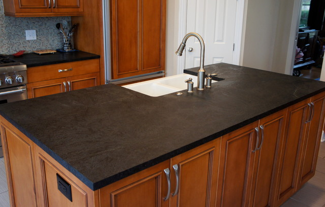 I just love this soapstone kitchen countertops! They have a richness about them, and a unique look that is so appropriate for two of the projects I'm currently working on. | Interior design -er: Latera Architectural Surfaces