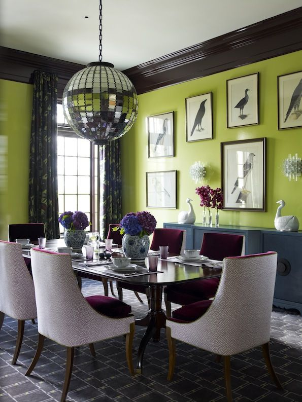 #InteriorDesign  A burst of color in the dining room | Designer: Katie Ridder
