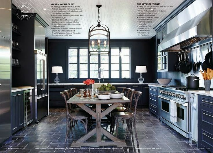 In an enclosed kitchen — a kitchen that's a separate room in the house — a center table is the best alternative to an island. | Source:  Canadian House & Home