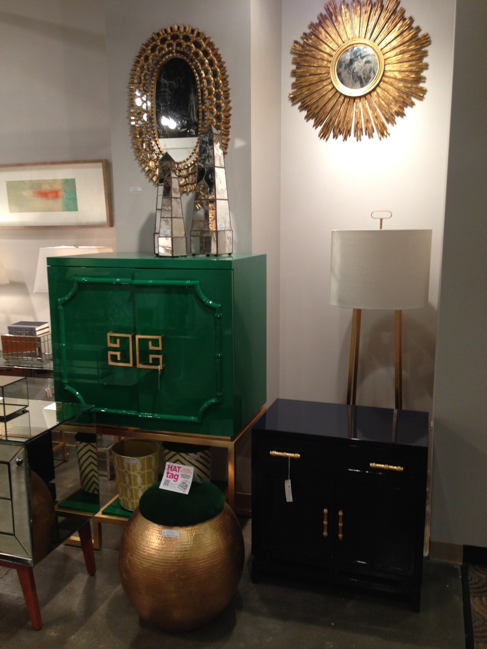 Gold and brass with lacquered cabinets by Worlds Away | #LVmkt, best, home, decor, furniture, interior design