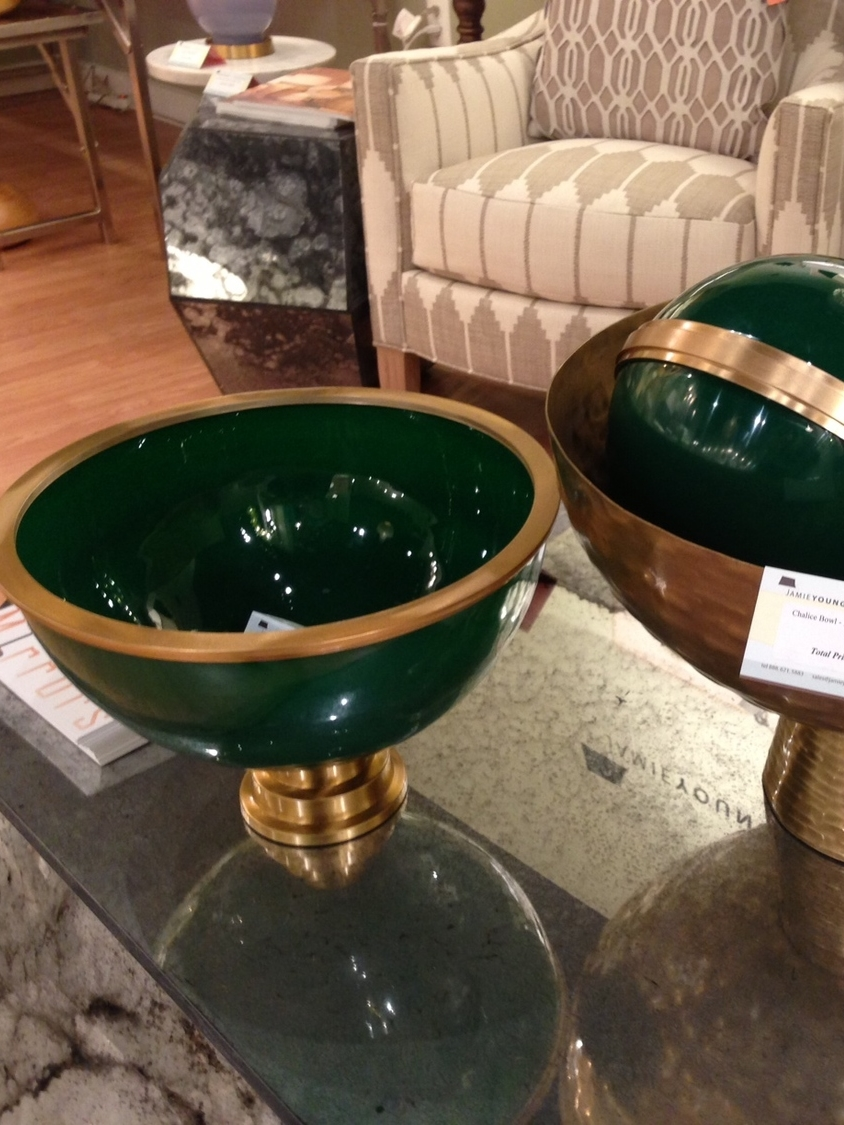 Green and brass bowls by Jamie Young. | #LVmkt, best, home, decor, furniture, interior design