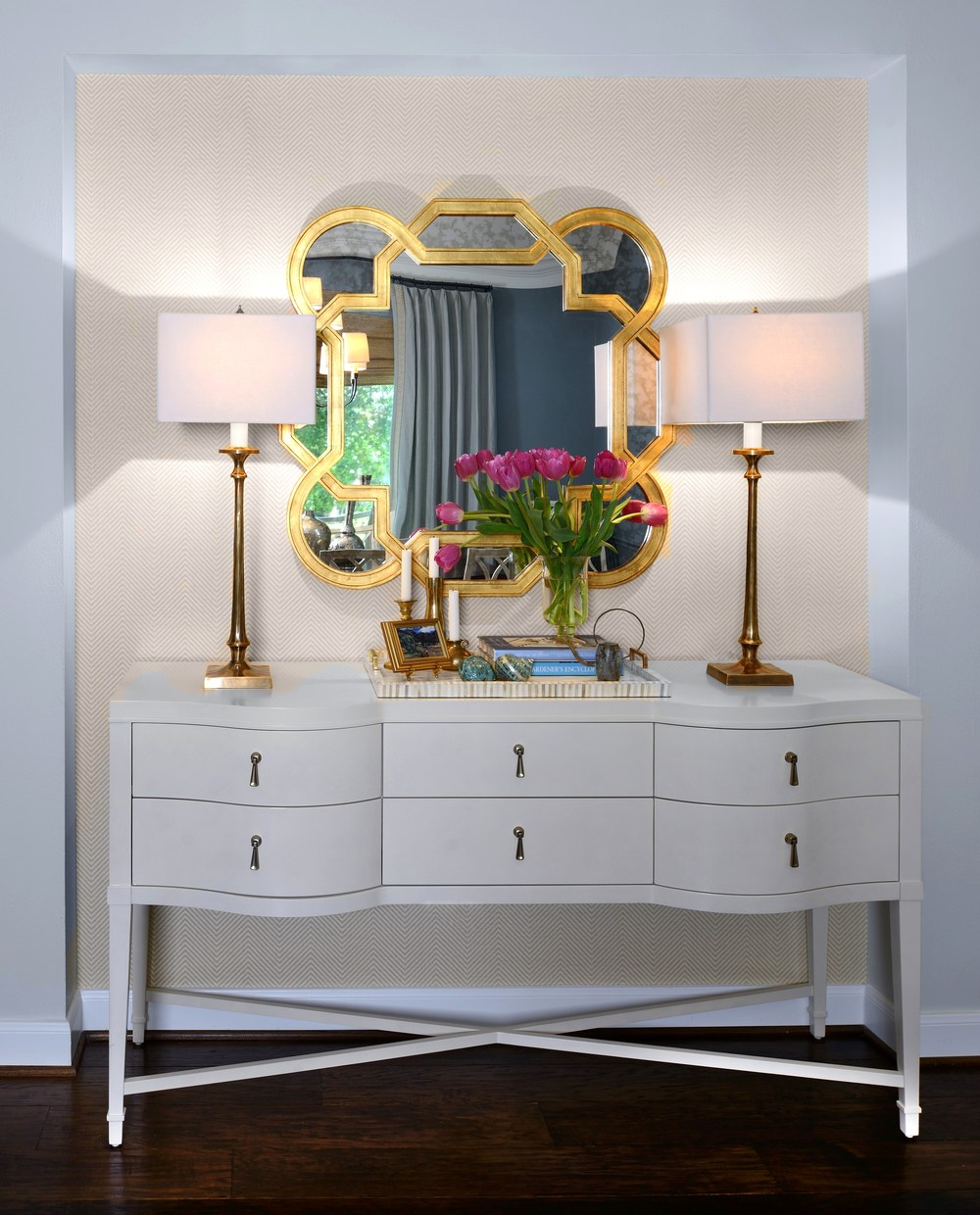 Hallway console with lamps and mirror, Designer: Carla Aston