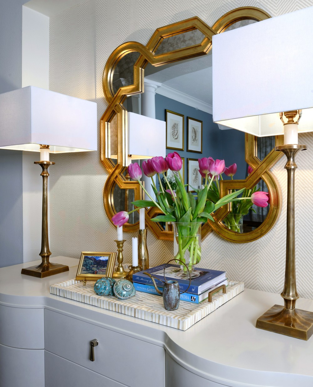 White console with gilded mirror and lamps, Designer: Carla Aston