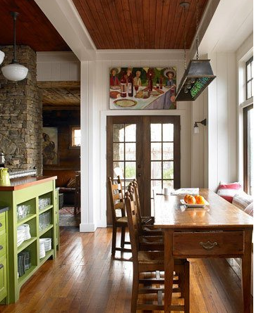 Image via:  House Beautiful,  Photographer: Gridley & Graves | hang art picture above door window kitchen