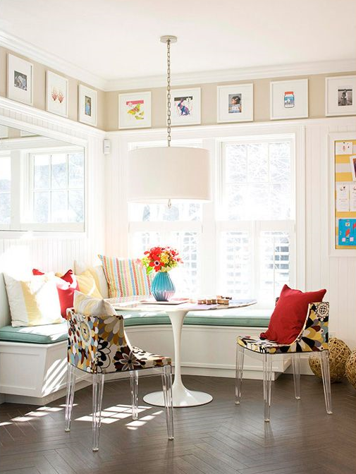 Image via BHG.com | Art hung above window kitchen breakfast nook & 1 More Perfect Place To Hang Art Besides At Eye-Level Is... u2014 DESIGNED