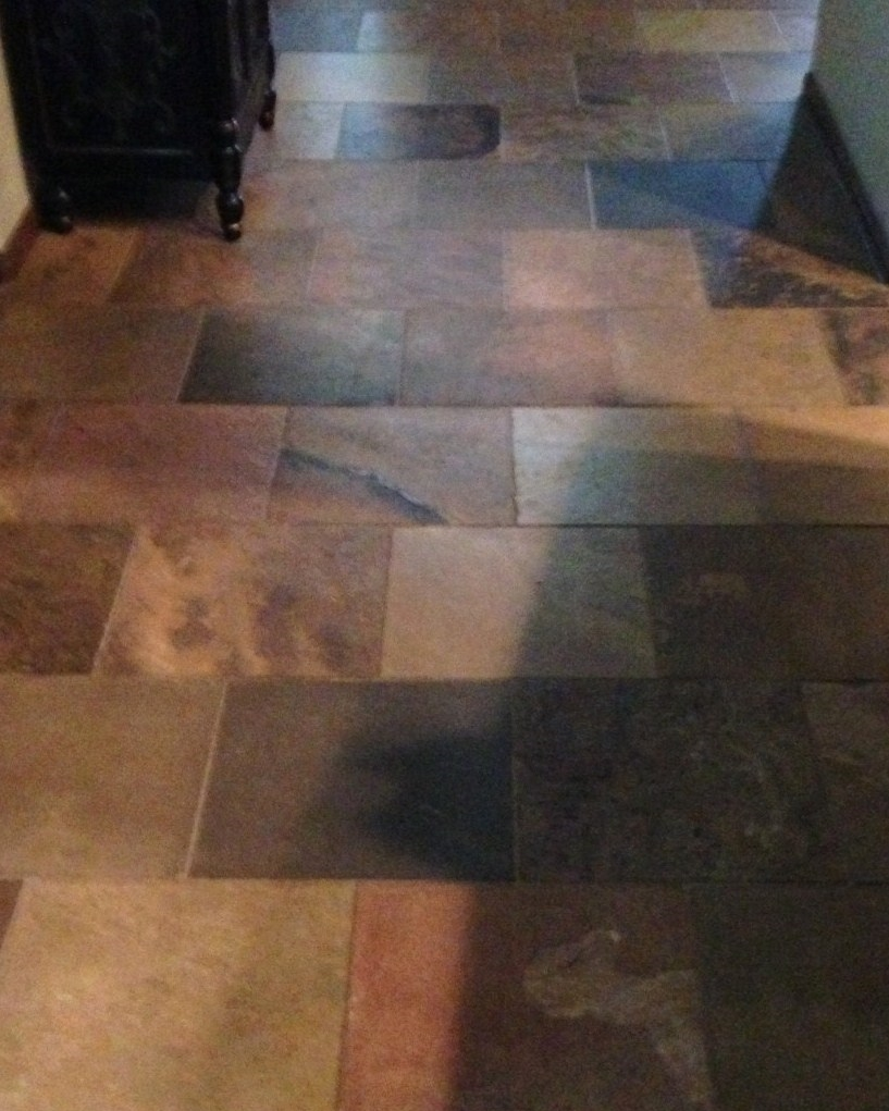 before after, remodel, slate floor
