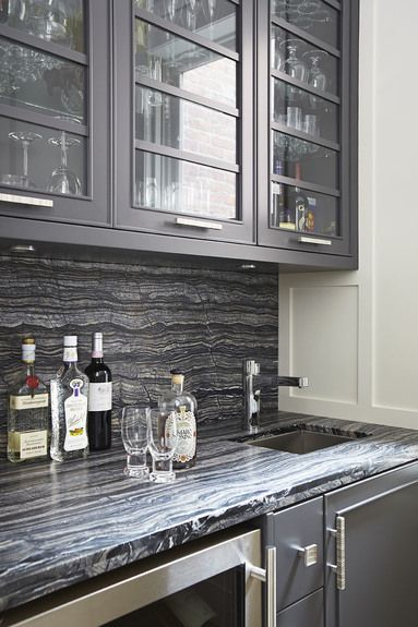 Kitchen w/a matching countertop & backsplash | Designer:  Douglas Design Center