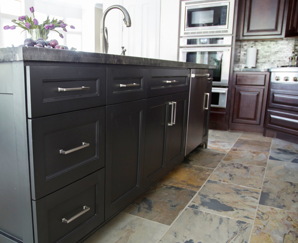 "MUST-SEE: After An Awkward Beginning, This Kitchen Gets A Dark, Dramatic Makeover From Carla Aston    ➤  http://carlaaston.com/designed/dark-dramatic-kitchen-designed-by-carla-aston  |  This project was a bit unique, in that the homeowner wanted to go dark in her kitchen. She loved the idea of black countertops and didn't care for the ""white kitchen"" look that's so popular now. Click through to learn and see how we gave her exactly what she wanted!  