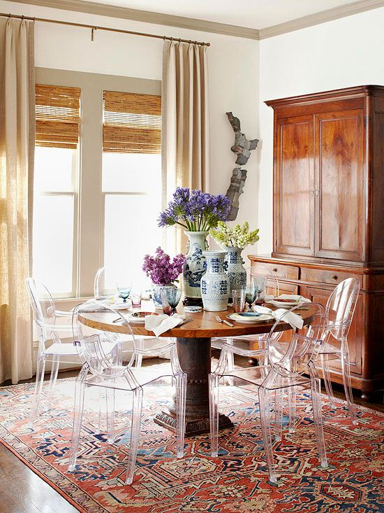 oriental rug dining room table source elle decor