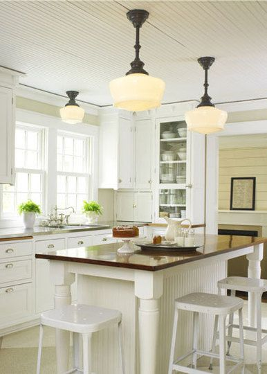 Bright kitchen with decorative lighting