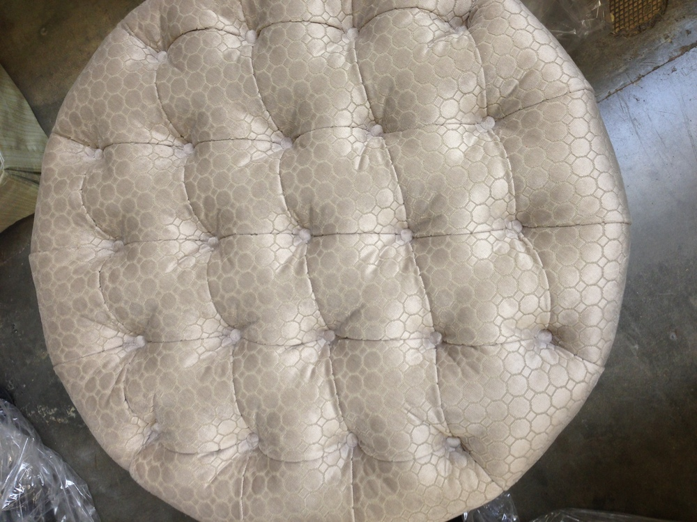 Custom ottoman | Carla Aston, Designer #tufted #ottoman