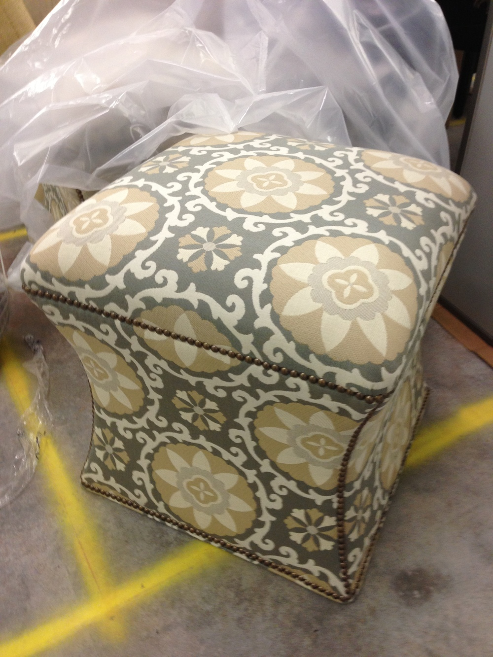 Custom ottoman stool with indoor/outdoor fabric | Carla Aston, Designer #stools
