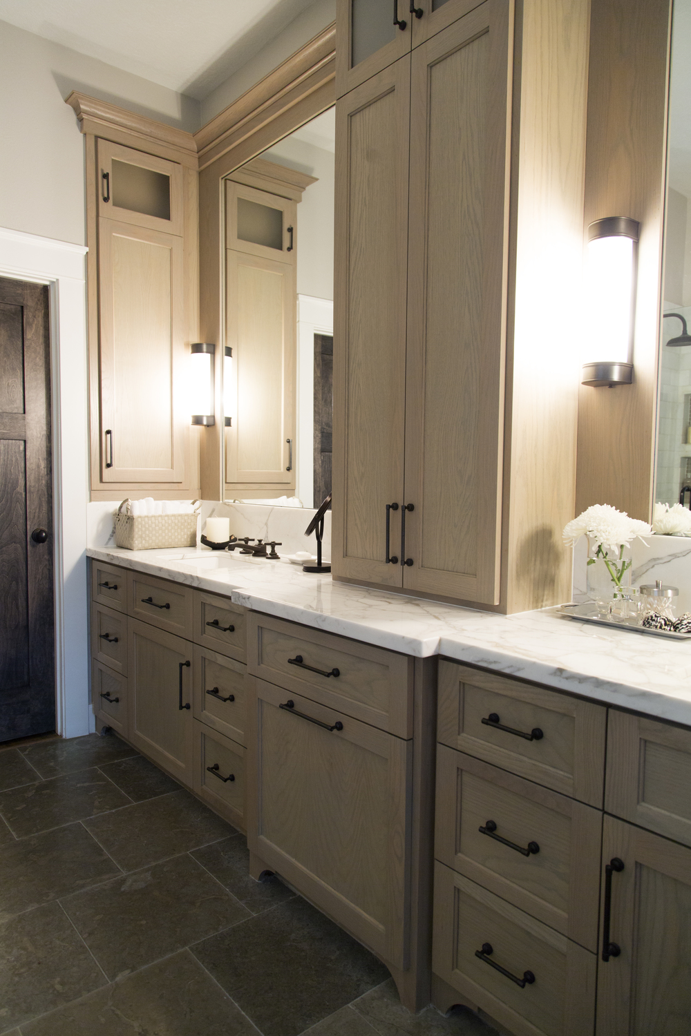 Master bathroom remodel, marble countertop | Interior design -er: Carla Aston - Photographer: Tori Aston http://ToriAston.com