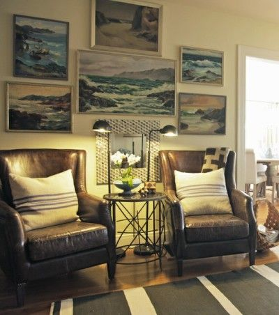 vintage portrait; oil painting; wall decor; art arrangement | Interior Photographer: Bryn Alexandra