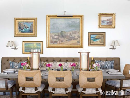 Dining room; vintage portrait; oil painting; wall decor; art arrangement | Interior Design -er: Peter Dunham