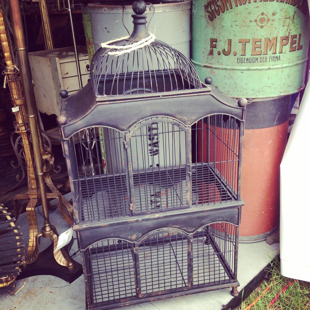 Antique furniture, decor;  birdcage