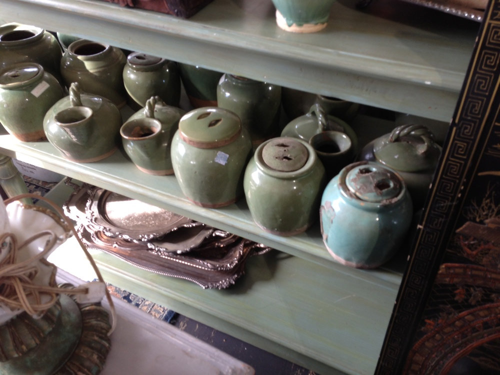 Antique furniture, decor; celadon