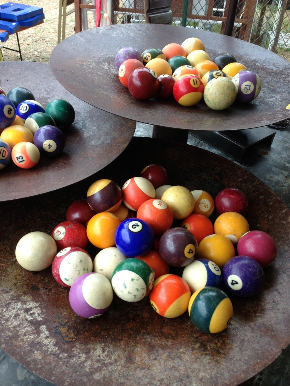 Antique furniture, decor;  colorful pool balls