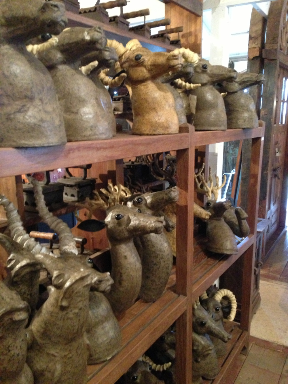 Antique furniture, decor; deer head molds