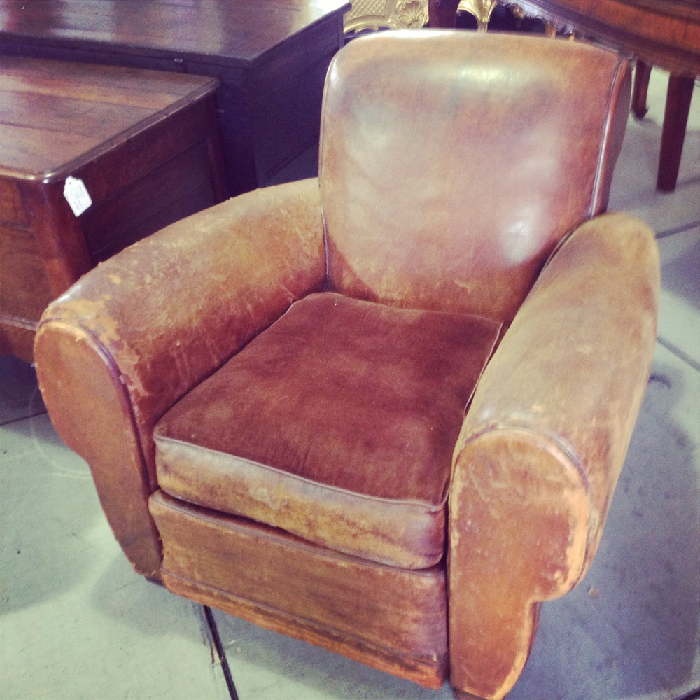 Antique furniture, decor;  leather chair