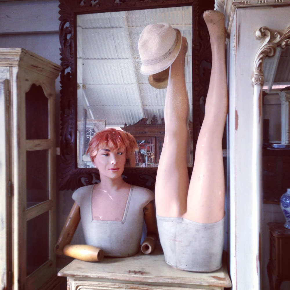 Antique furniture, decor;  mannequin